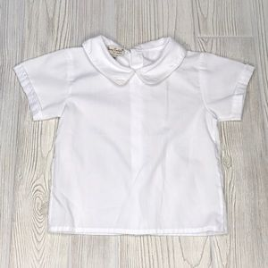 Classy Couture White Collared Short Sleeve Shirt